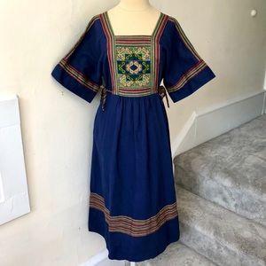 Vintage 70s Cotton Embroidered Midi Peasant Dress